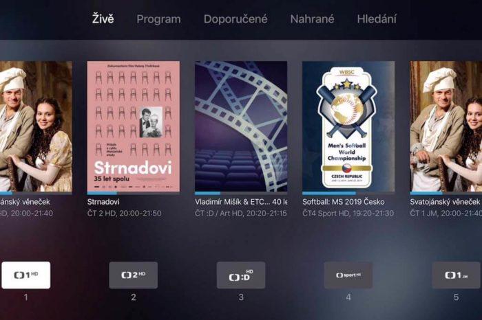 Pohled na aplikaci DIGI TV a její funkce v prostředí pro Apple TV