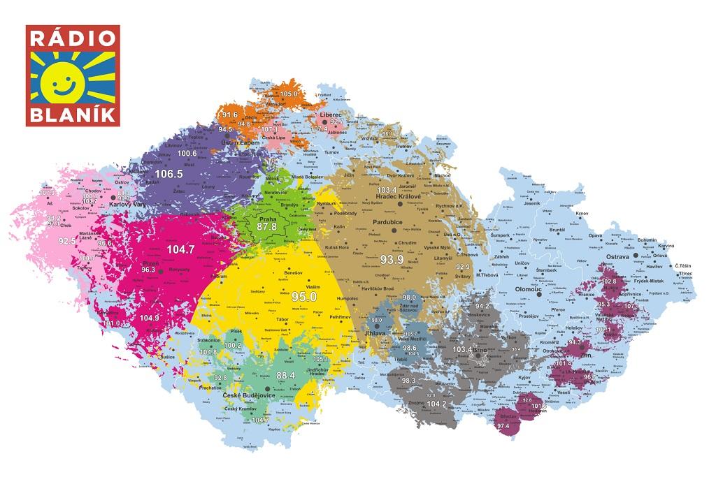 Mapa pokrytí Rádia BLANÍK, zdroj: web rádia, autor: Petr Kružík