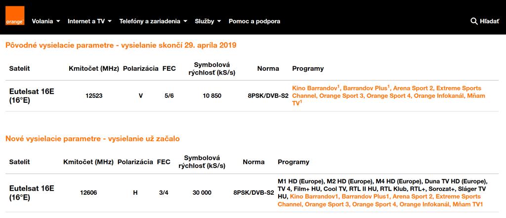 6cf948b12 Slovenský Orange TV přes satelit změnil parametry, uvedl nesprávné ...